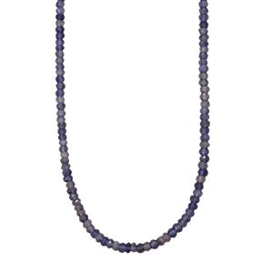 43ct Bengal Iolite Sterling Silver Graduated Bead Necklace