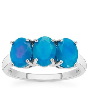Ethiopian Paraiba Blue Opal Ring in Sterling Silver 2.40cts