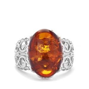 Baltic Cognac Amber Ring in Sterling Silver (17x12mm)