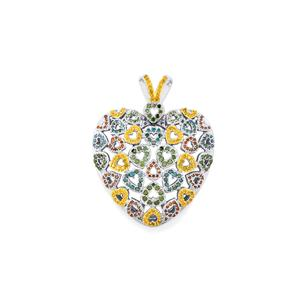 Multi Colour Diamond Pendant with in Sterling Silver 2ct
