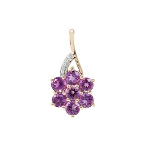 Moroccan Amethyst Pendant with White Zircon in 9K Gold 2.33cts