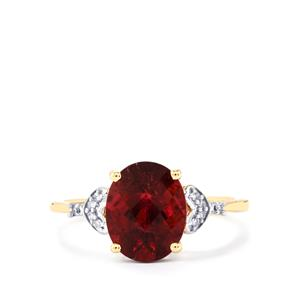 Cruzeiro Rubellite Ring with Diamond in 9K Gold 2.57cts