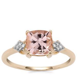 Alto Ligonha Morganite Ring with Diamond in 9K Gold 1.33cts