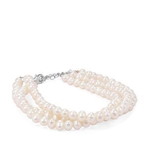 Kaori Cultured Pearl Sterling Silver 3 Line Bracelet