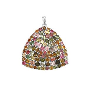 Rainbow Tourmaline Pendant in Sterling Silver 13.31cts