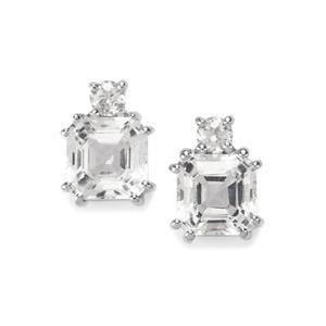 The Regal Asscher Cut White Topaz Sterling Silver Earrings 4.96ct