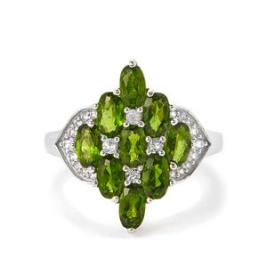 Chrome Diopside & White Topaz Sterling Silver Ring ATGW 2.88cts
