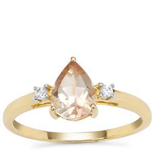 Peach Parti Oregon Sunstone Ring with White Zircon in 9K Gold 1.08cts