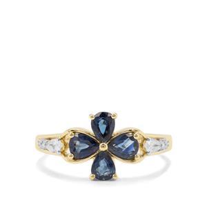 Australian Blue Sapphire & White Zircon 9K Gold Ring ATGW 1.36cts