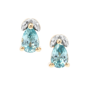 Ratanakiri Blue Zircon Earrings with Diamond in 9K Gold 1.51cts