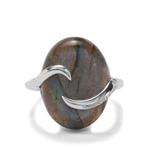 Labradorite & White Zircon Sterling Silver Ring ATGW 15.12cts