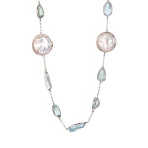 Baroque Cultured Pearl & Aquamarine Sterling Silver Sarah Bennett Necklace