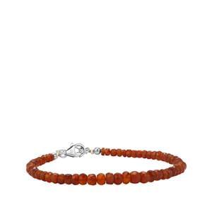 16.50ct American Fire Opal Sterling Silver Graduated Bead Bracelet
