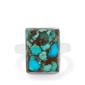 Egyptian Turquoise Ring in Sterling Silver 10.38cts