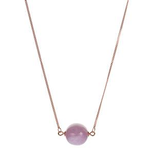 Kunzite Necklace in Rose Gold Tone Sterling Silver 12.80cts