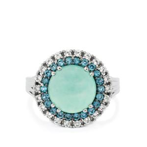 Aquaprase™ Ring with London Blue & White Topaz in Platinum Plated Sterling Silver 4.29cts