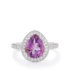Amethyst & White Topaz Sterling Silver Ring ATGW 3.35cts