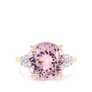 Mawi Kunzite Ring with Diamond in 18k Gold 8.26cts