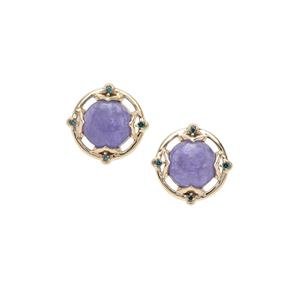 Tanzanite Earrings with Blue Diamond in 9K Gold 3.76cts