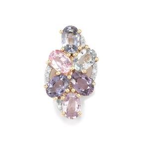 Natural Sakaraha Rainbow Sapphire & Diamond 9K Gold Pendant ATGW 3.51cts