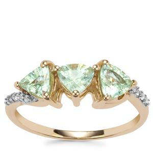 Paraiba Tourmaline Ring with White Zircon in 10K Gold 1.22cts