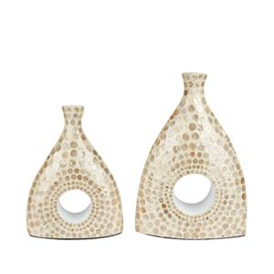 Mother of Pearl Collection - Extra Large Decorative Funnel shape Vase with Cream Mother of Pearl inlay