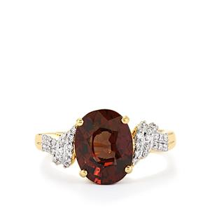 Color Change Garnet Ring with Diamond in 18k Gold 4.28cts