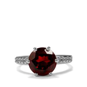 Rajasthan Garnet & White Topaz Sterling Silver Ring ATGW 4.40cts