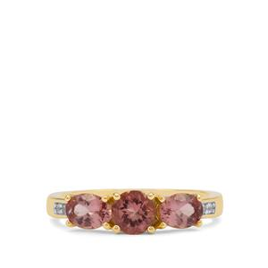 Rosé Apatite Ring with White Zircon in 9K Gold 1.53cts