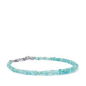 30.49ct Ratanakiri Blue Zircon Sterling Silver Graduated Bead Bracelet