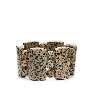 711cts Dalmatian Jasper Stretchable Bracelet