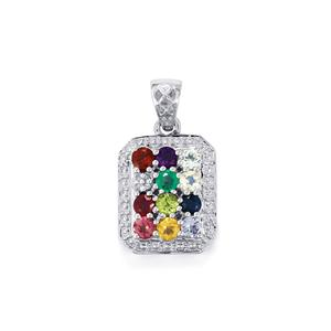 Kaleidoscope Gemstones Pendant in Sterling Silver 1.48cts