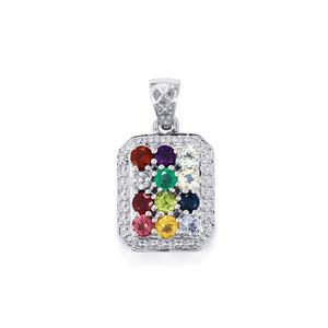 Kaleidoscope Gemstones Pendant in Sterling Silver 1.48cts