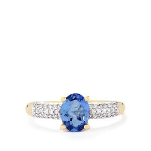 AA Tanzanite Ring with White Zircon in 10k Gold 1.27cts