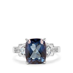 Hope, Sky Blue Topaz & White Zircon Sterling Silver Ring ATGW 4.94cts