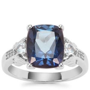 Hope, Sky Blue Topaz Ring with White Zircon in Sterling Silver 4.94cts