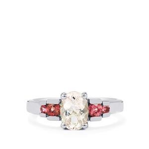 Zambezia Morganite & Pink Tourmaline Sterling Silver Ring ATGW 1.20cts