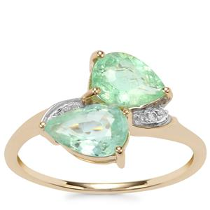 Paraiba Tourmaline Ring with Diamond in 9K Gold 1.77cts