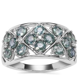 Natural Umba Sapphire Ring with White Zircon in Sterling Silver 2.33cts