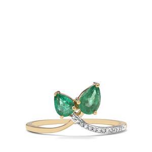 Zambian Emerald & Diamond 9K Gold Ring ATGW 0.64cts