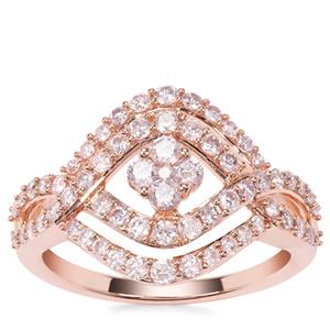 Natural Pink Diamond Ring in 9K Rose Gold 1cts