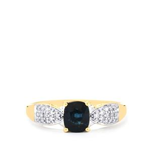 Nigerian Blue Sapphire Ring with Diamond in 18K Gold 1.14cts