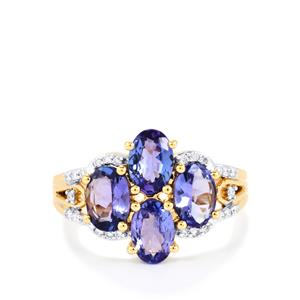 AA Tanzanite Ring with Diamond in 18k Gold 2.23cts
