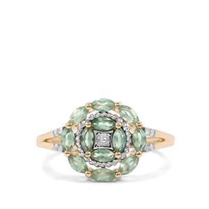 Alexandrite Ring with Diamond in 10K Gold 0.95ct