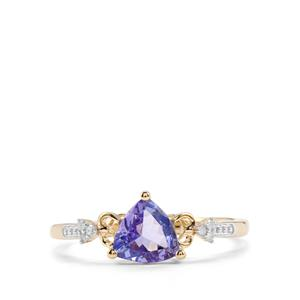 AA Tanzanite & Diamond 10K Gold Ring ATGW 0.88cts