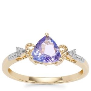AA Tanzanite Ring with Diamond in 9K Gold 0.88cts