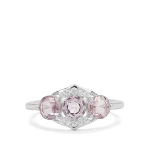 Burmese Pink Spinel & White Zircon Sterling Silver Ring ATGW 2.06cts