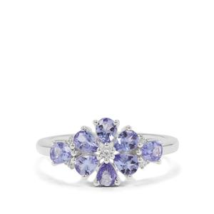 A Tanzanite Ring with White Zircon in Sterling Silver 1.10cts