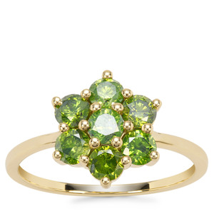 Green Diamond Ring in 9K Gold 1.20cts