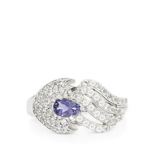 Bengal Iolite & White Topaz Sterling Silver Ring ATGW 1.20cts